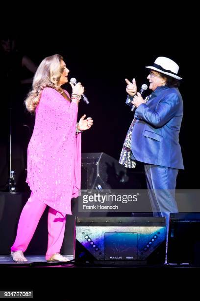 Singer Romina Power and Al Bano perform live on stage during a concert at the MercedesBenz Arena on March 19 2018 in Berlin Germany