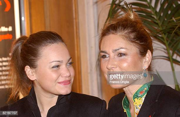 US singer Romina Power the daughter of Tyron Power and her daughter Romina Jr attend the premiere of new movie 'The Heart Is Deceitful Above All...