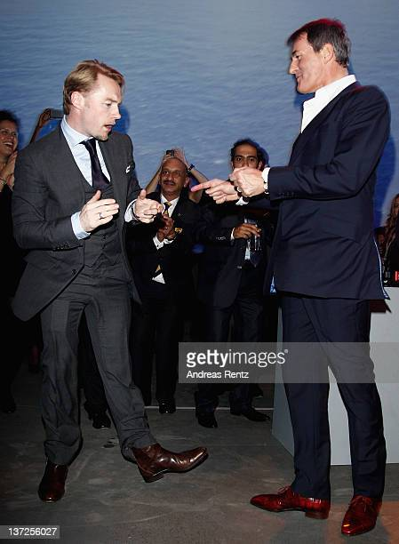 Singer Ronan Keating and Tim Jefferies attend the IWC Schaffhausen Top Gun Gala Event during the 22nd SIHH High Jewellery Fair at the Palexpo...