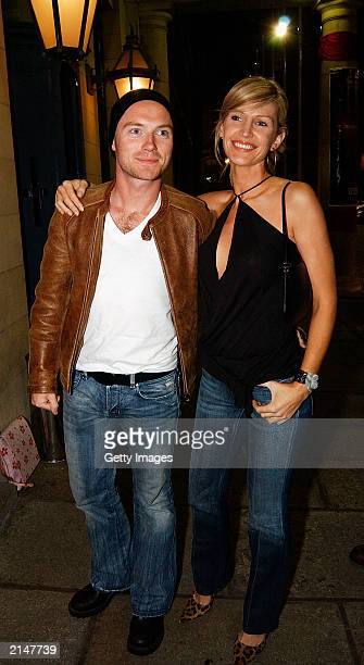 """Singer Ronan Keating and wife Yvonne attend the after party of the world premiere of """"Veronica Guerin"""" in Dublin Castle on July 8, 2003 in Dublin,..."""