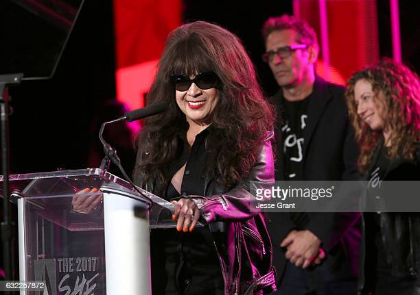 Singer Ronnie Spector speaks on stage at the She Rocks Awards during the 2017 NAMM Show at the Anaheim Convention Center on January 20, 2017 in...