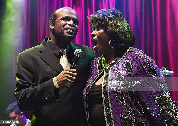 Singer Roy Hamilton Jr. And singer Shirley King, daughter of blues musician B.B. King, perform at Brooklyn Bowl Las Vegas at The LINQ Promenade as...