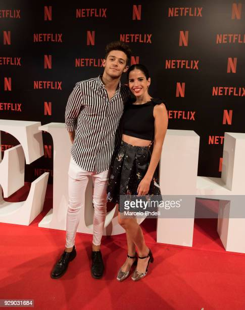 Singer Ruggero Pasquarlli and actress Candelaria Molfese pose during the Premiere of Netflix's Edha at Cinemark Puerto Madero on March 7 2018 in...