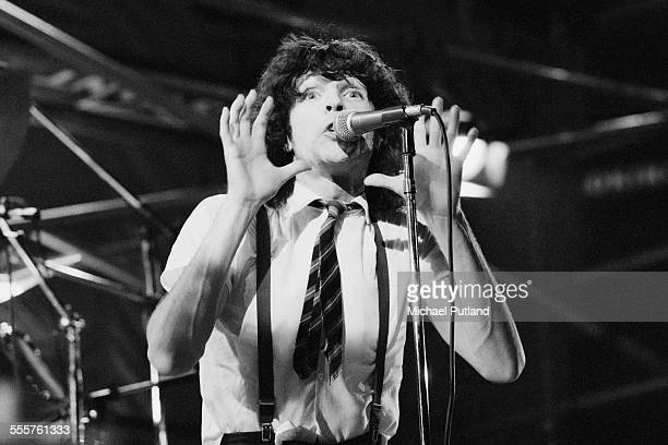 Singer Russell Mael performing on stage with American rock group Sparks, 10th November 1975.