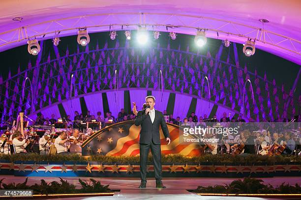Singer Russell Watson performs during the rehearsal of the 26th Anniversary Broadcast of the National Memorial Day Concert on May 23 2015 in...