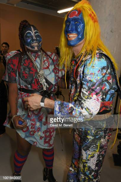 Singer Ruth Brown and Charles Jeffrey attend the Charles Jeffrey LOVERBOY x MAC Pro Party at 180 The Strand on July 19 2018 in London United Kingdom
