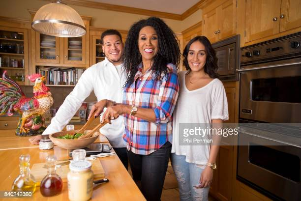 Singer Ruth Pointer son Conor Sayles and daughter Ali Sayles are photographed for Closer Weekly Magazine on January 18 2016 at home in Massachusetts