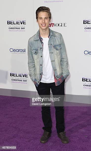 Singer Ryan Beatty attends the premiere of Open Road Films' 'Justin Bieber's Believe' at Regal Cinemas LA Live on December 18 2013 in Los Angeles...