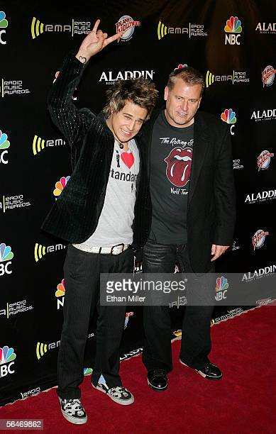 Singer Ryan Cabrera and manager Joe Simpson arrives at the 2005 Radio Music Awards at the Aladdin Theatre for the Performing Arts on December 19,...