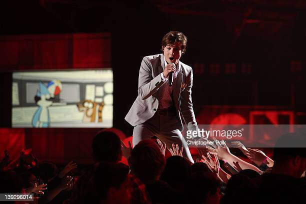 Singer Ryan Follese of Hot Chelle Rae performs onstage during the 2012 Cartoon Network Hall of Game Awards at Barker Hangar on February 18 2012 in...