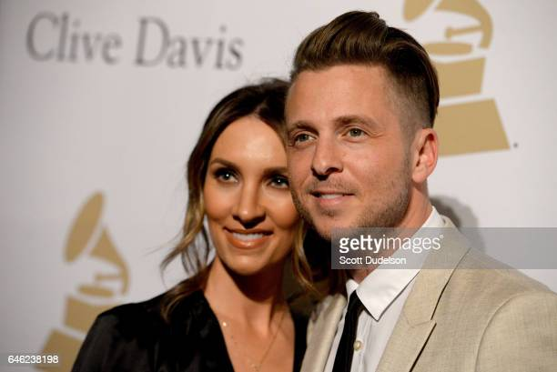 Singer Ryan Tedder and Genevieve Tedder attend the 2017 PreGrammy Gala and Salute to Industry Icons Event at The Beverly Hilton Hotel on February 11...