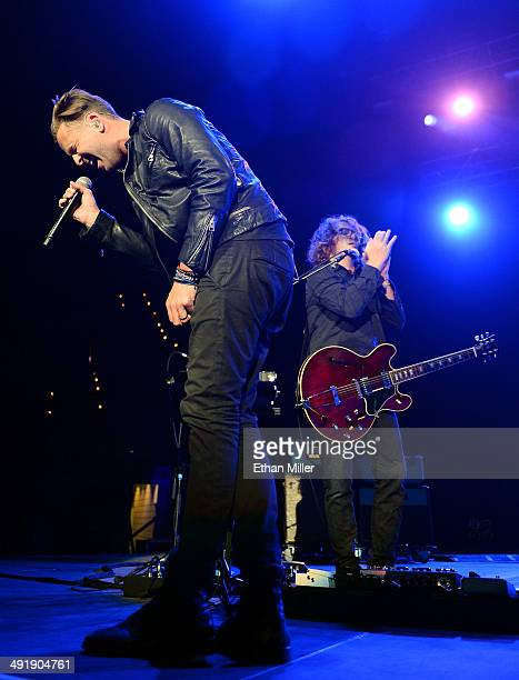 Singer Ryan Tedder and guitarist Drew Brown of OneRepublic perform during Tiger Jam 2014 at the Mandalay Bay Events Center on May 17 2014 in Las...