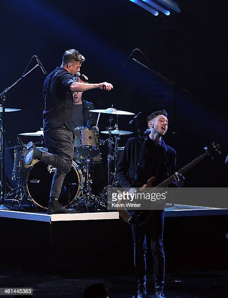Singer Ryan Tedder and musician Brent Kutzle of OneRepublic perform onstage at The 40th Annual People's Choice Awards at Nokia Theatre LA Live on...