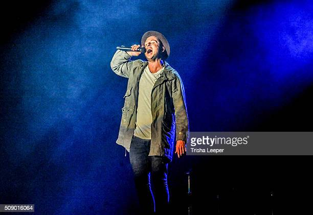 Singer Ryan Tedder of One Republic performs at the Lev's City Stage at Super Bowl City on February 5, 2016 in San Francisco, California.