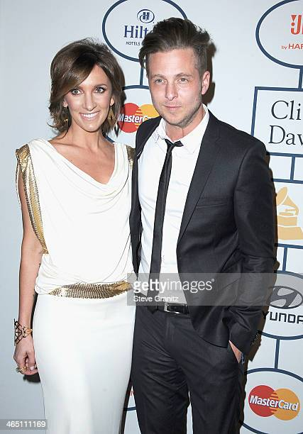 Singer Ryan Tedder of OneRepublic and Genevieve Tedder attend the 56th annual GRAMMY Awards PreGRAMMY Gala and Salute to Industry Icons honoring...