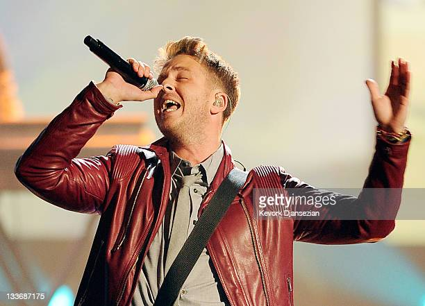 Singer Ryan Tedder of OneRepublic performs onstage at the 2011 American Music Awards held at Nokia Theatre LA LIVE on November 20 2011 in Los Angeles...