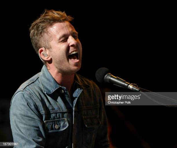 Singer Ryan Tedder of OneRepublic performs onstage during KIIS FM's 2012 Jingle Ball at Nokia Theatre LA Live on December 1 2012 in Los Angeles...