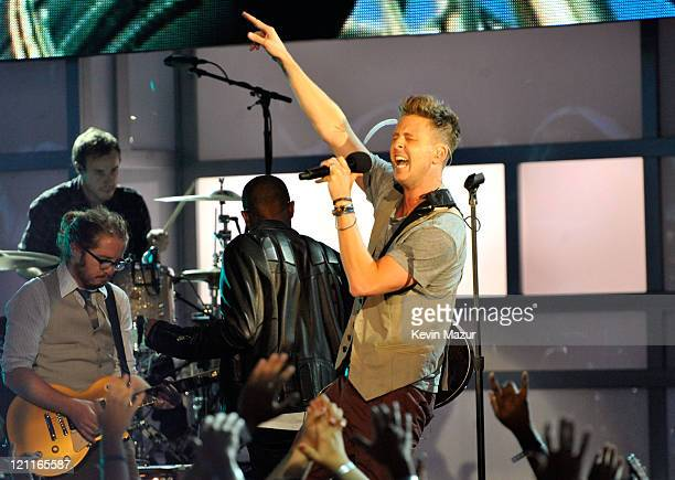 Singer Ryan Tedder of OneRepublic performs onstage during the 2011 VH1 Do Something Awards at the Hollywood Palladium on August 14, 2011 in...