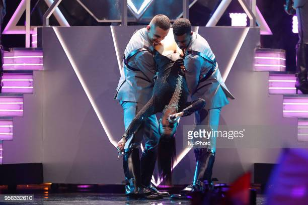 Singer Saara Aalto of Finland performs during the first semifinal of the 2018 Eurovision Song Contest at the Altice Arena in Lisbon Portugal on May 8...