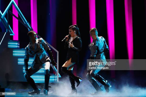 Singer Saara Aalto representing Finland performs during the second Grand Final Dress Rehearsal of Eurovision Song Contest 2018 in Altice Arena on May...