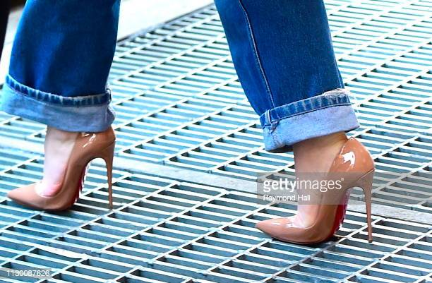 Singer Sabrina Carpenter shoe detail is seen outside Z100 on March 12 2019 in New York City