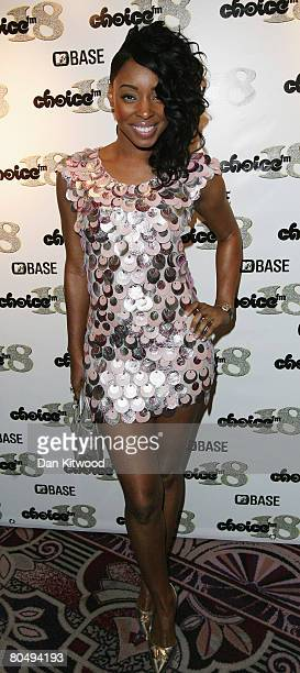 Singer Sabrina Washington of MisTeeq arrives at the Choice FM 18th aniversary party at the Park Lane Hotel on April 2 2008 in London England