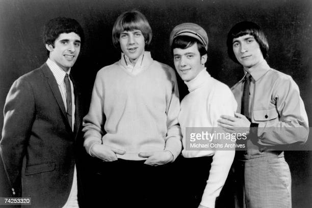 Singer Sal Valentino drummer John Petersen guitarist Ron Elliott and bassist Ron Meagher of the rock and roll band The Beau Brummels pose for a...