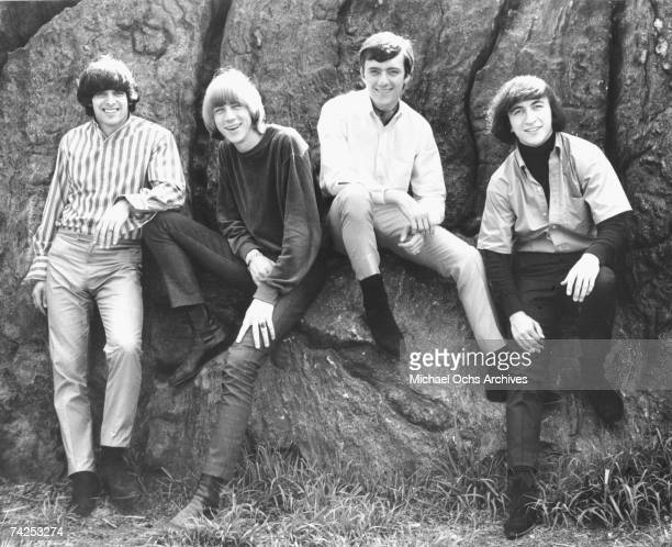 Singer Sal Valentino drummer John Peterson guitarist Ron Elliott and bassist Ron Meagher of the rock and roll band The Beau Brummels pose for a...