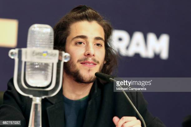 Singer Salvador Sobral representing Portugal attends the press conference after the final of the 62nd Eurovision Song Contest at International...