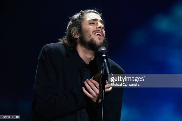 Singer Salvador Sobral representing Portugal performs the song 'Amar Pelos Dois' during the rehearsal for ''The final of this year's Eurovision Song...