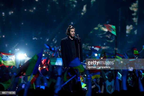 Singer Salvador Sobral representing Portugal performs the song 'Amar Pelos Dois' during the final of the 62nd Eurovision Song Contest at...