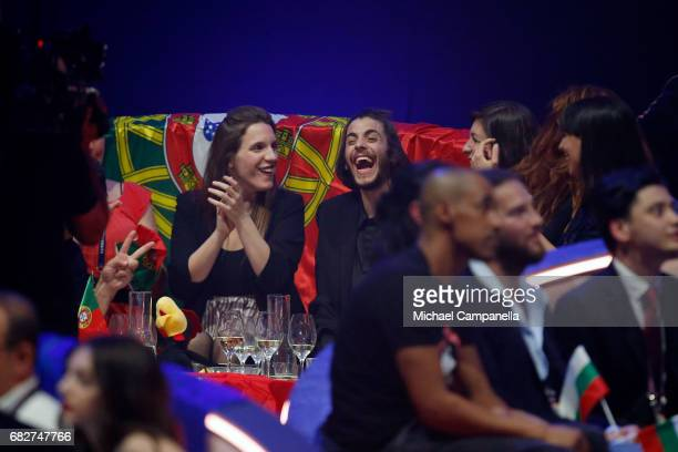 Singer Salvador Sobral representing Portugal reacts during the voting during the final of the 62nd Eurovision Song Contest at International...