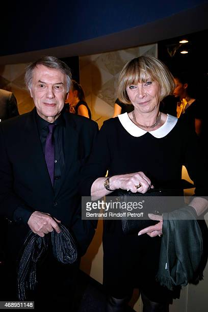 Singer Salvatore Adamo and his wife Nicole attend the 'Paris Merveilles', Lido New Revue : Opening Gala on April 8, 2015 in Paris, France.