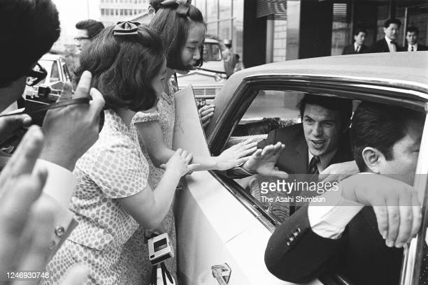 Singer Salvatore Adamo is seen in front of his hotel on June 2, 1967 in Tokyo, Japan.