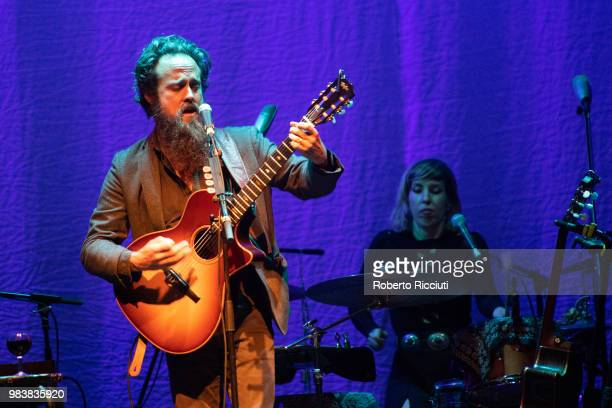 Singer Sam Beamand and drummer Beth Goodfellow of Iron and Wine perform live on stage at O2 Academy Glasgow on June 25, 2018 in Glasgow, Scotland.