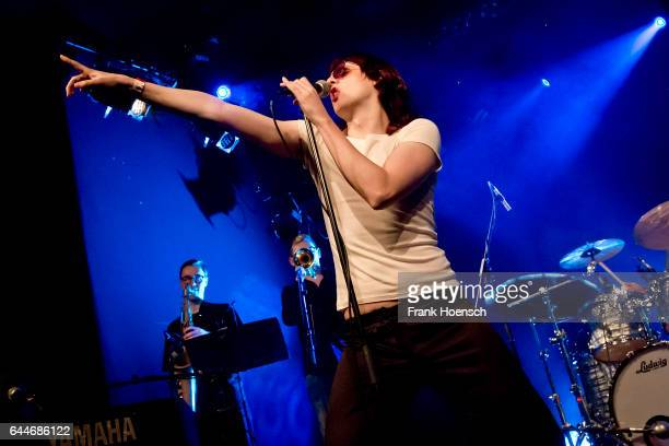 Singer Sam France of the American band Foxygen performs live during a concert at the Columbia Theater on February 23, 2017 in Berlin, Germany.