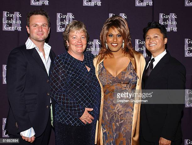 Singer Sam Harris Executive Director Luann Boylan singer Jennifer Holliday and actor Alec Mapa attend the LA Gay and Lesbian Center's 33rd Aniversary...