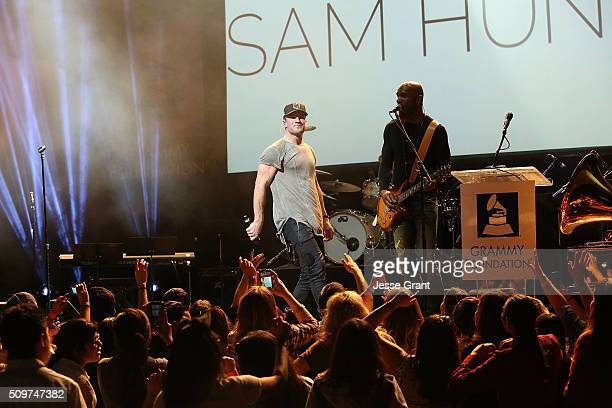Singer Sam Hunt performs on stage during the GRAMMY Foundation¨Õs annual GRAMMY In The Schools Live Ð A Celebration of Music Education presented by...