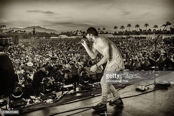 Singer Sam Hunt performs onstage during 2016 Stagecoach California's Country Music Festival at Empire Polo Club on April 29 2016 in Indio California
