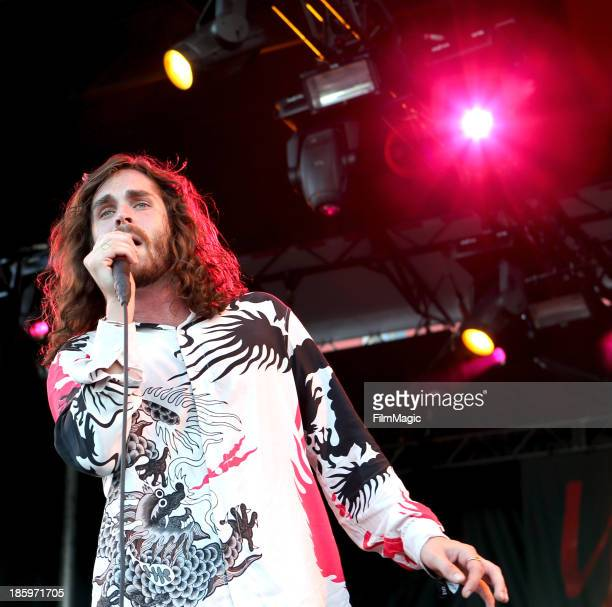 Singer Sam Martin of Youngblood Hawke perform onstage during day 1 of the Life is Beautiful festival on October 26 2013 in Las Vegas Nevada