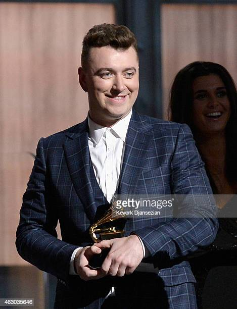 Singer Sam Smith accepts the Record of the Year award for 'Stay With Me' onstage during The 57th Annual GRAMMY Awards at the at the STAPLES Center on...