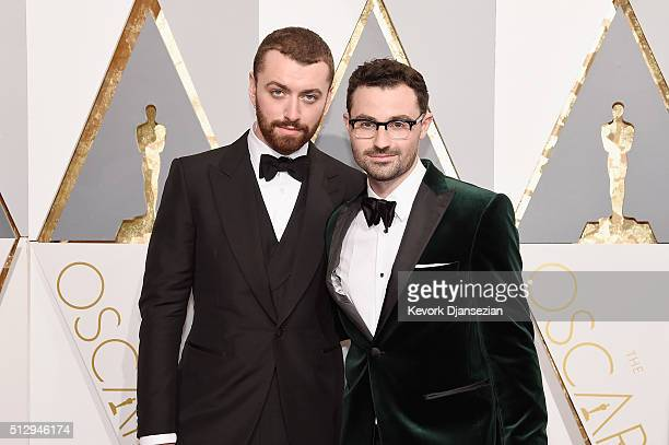 Singer Sam Smith and composer Jimmy Napes attend the 88th Annual Academy Awards at Hollywood Highland Center on February 28 2016 in Hollywood...
