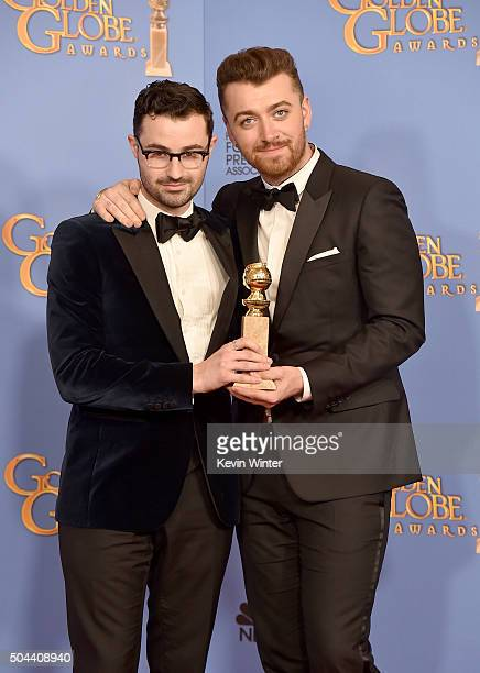 Singer Sam Smith and producer/songwriter Jimmy Napes winners of Best Original Song for 'Writing's on the Wall' pose in the press room during the 73rd...