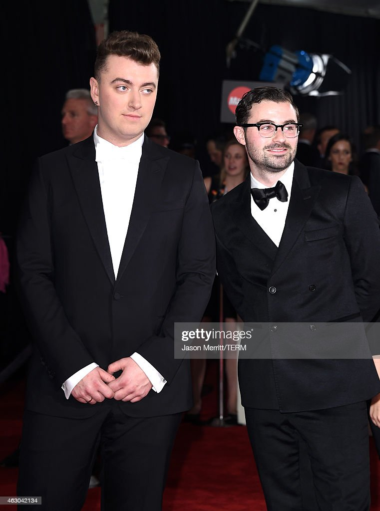 Singer Sam Smith (L) and Producer/sound engineer Jimmy Napes attend The 57th Annual GRAMMY Awards at the STAPLES Center on February 8, 2015 in Los Angeles, California.