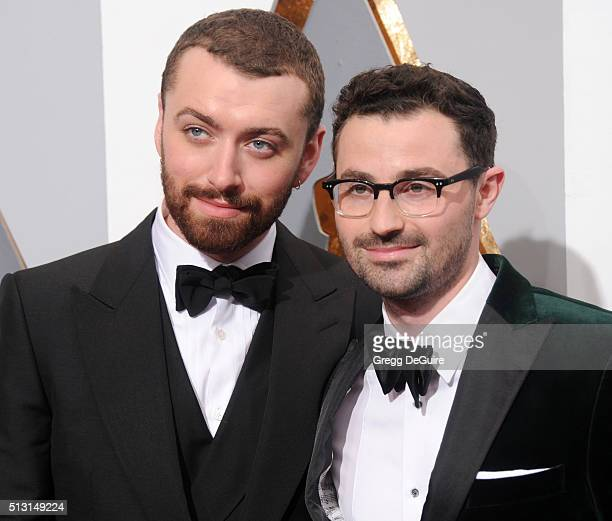 Singer Sam Smith and songwriter Jimmy Napes arrive at the 88th Annual Academy Awards at Hollywood Highland Center on February 28 2016 in Hollywood...