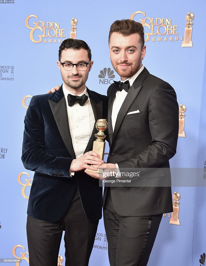 Singer Sam Smith (R) and songwriter Jimmy Napes, winners of the award for Best Original Song - Motion Picture for 'Writing's on the Wall' from 'Spectre,' poses in the press room during the 73rd Annual Golden Globe Awards held at the Beverly Hilton Hotel on January 10, 2016 in Beverly Hills, California.