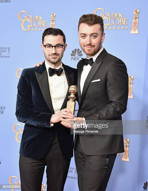 Singer Sam Smith and songwriter Jimmy Napes winners of the award for Best Original Song Motion Picture for 'Writing's on the Wall' from 'Spectre'...