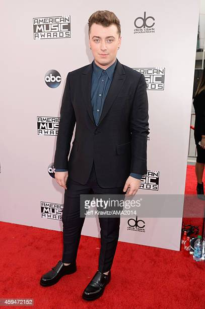 Singer Sam Smith attends the 2014 American Music Awards at Nokia Theatre LA Live on November 23 2014 in Los Angeles California