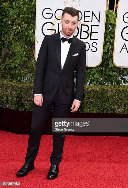 Singer Sam Smith attends the 73rd Annual Golden Globe Awards held at the Beverly Hilton Hotel on January 10 2016 in Beverly Hills California