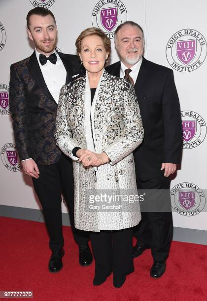 Singer Sam Smith event honoree Julie Andrews and surgical innovator Dr Steven Marc Zeitels attend the Raise Your Voice concert honoring Julie Andrews...